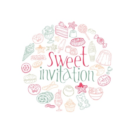 layout strawberry: Set of Cakes, Sweets and Desserts -Invitation Card in vector Illustration