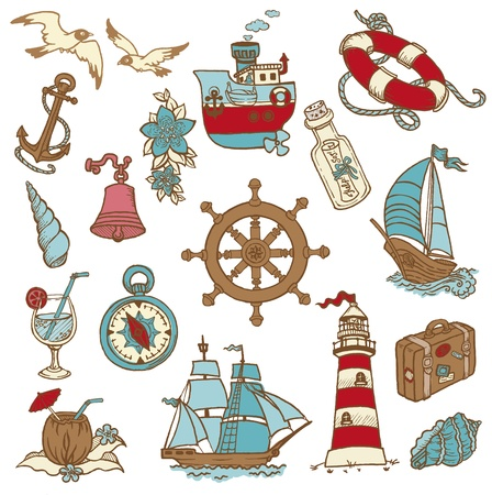 sea gull: Doodle Sea elements - for your design, scrapbook in vector