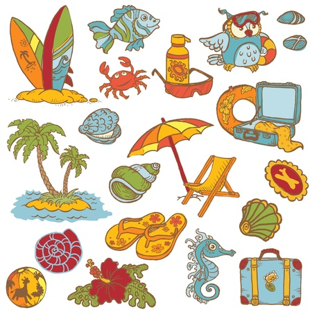 Seaside doodles - Hand drawn collection in vector Vector