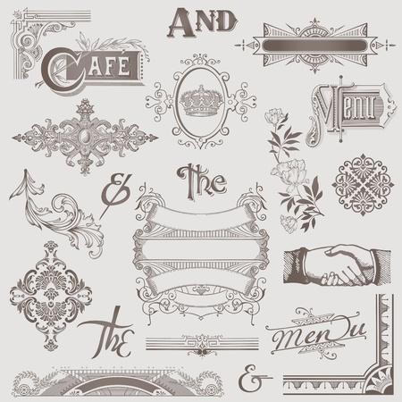 calligraphique: Vector Set: Divers �l�ments de conception r�tro - Haute Qualit� Illustration