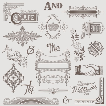victorian scroll: Vector Set: Various Retro Design Elements - High Quality