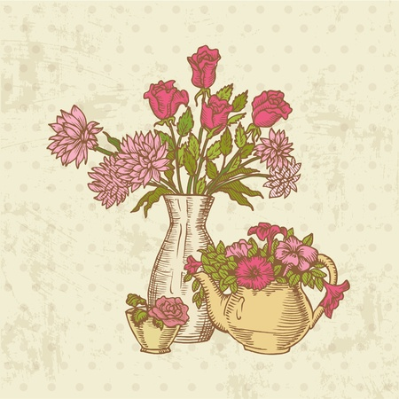 Vintage Flower Card - hand drawn in vector Stock Vector - 12853165