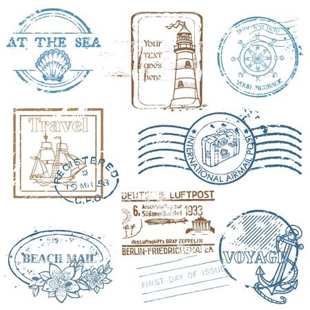 여행: 레트로 SEA 스탬프의 벡터 설정 - 디자인과 스크랩북