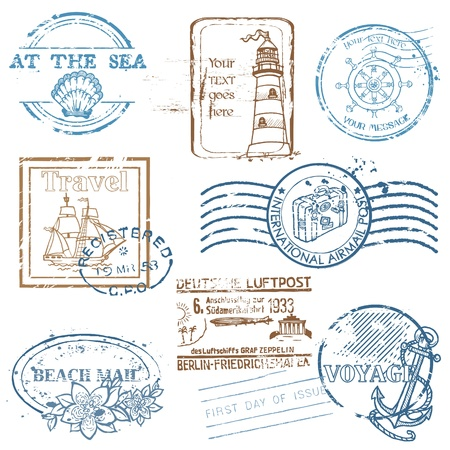 watermark: Vector Set of Retro SEA stamps - for design and scrapbook