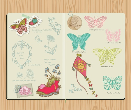 Vector Scrapbook Design Elements - Set of butterflies - hand drawn in notepad Vector