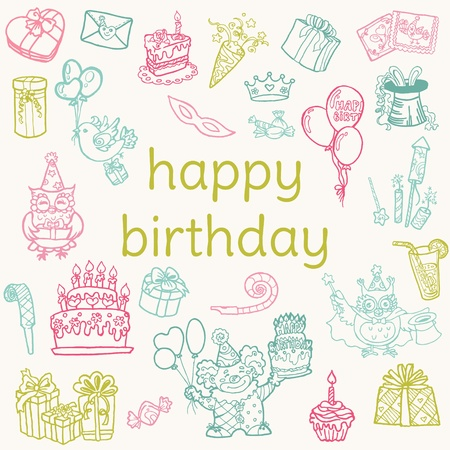 birthday cupcakes: Birthday Card - with hand drawn elements - for Scrapbook, Invitation in vector