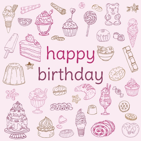 Birthday Card - with hand drawn elements - for Scrapbook, Invitation in vector Stock Vector - 12853161