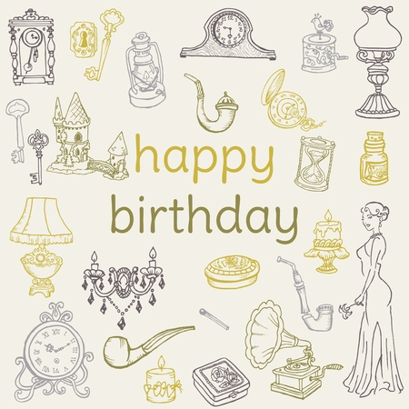 hand key: Birthday Card - with hand drawn elements - for Scrapbook, Invitation in vector