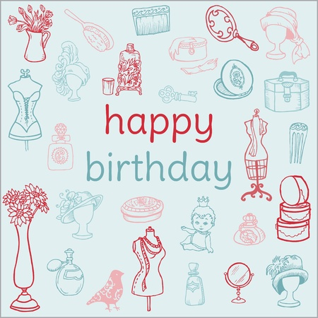 Birthday Card - with hand drawn elements - for Scrapbook, Invitation in vector Vector
