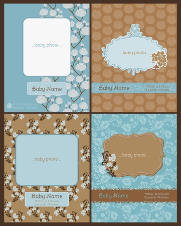 Set of Baby Arrival Cards - with place for your text and photo - in vector Vector