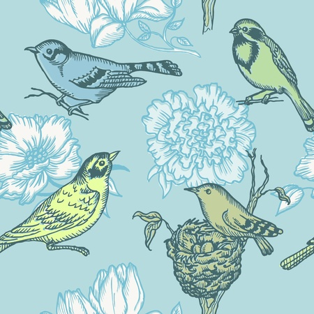 Birds and Flowers - seamless pattern in vector Stock Vector - 12853203