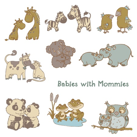 baby animal cartoon: Babies with Their Mommies - hand drawn in vector