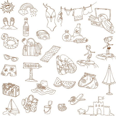 parasol: Summer holiday doodle collection - hand drawn in vector Illustration