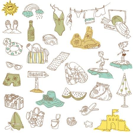 playa caricatura: Colecci�n de verano de vacaciones garabato - dibujado a mano en el vector