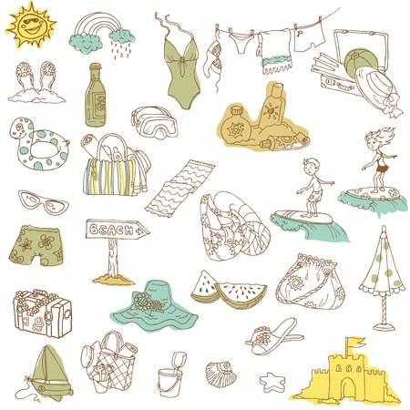 scrapbook element: Sommerurlaub doodle collection - Hand in Vektor gezeichnet