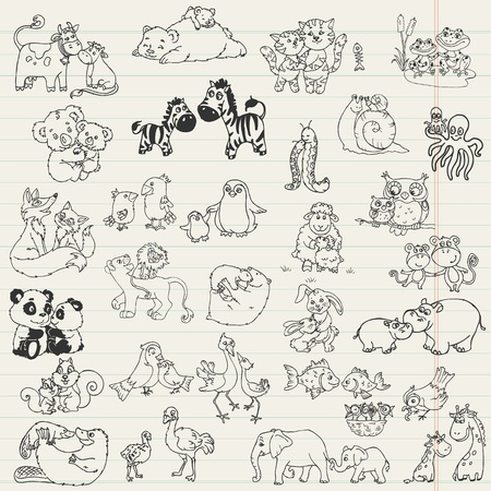 leon bebe: Animales del bebé con las madres - dibujado a mano en el vector Vectores