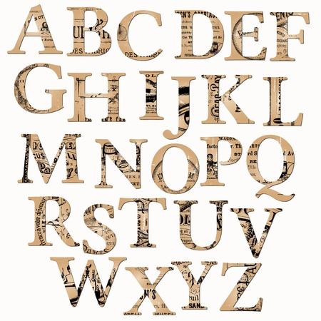 oude krant: Vintage Alfabet op basis van oude krant en notities - in vector