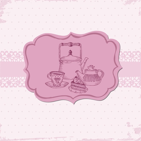 Cute Card with Cake and Teapots - for your menu or scrapbook in vector  Vector