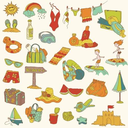 Colecci�n de verano de vacaciones garabato - dibujado a mano en el vector