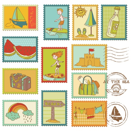Summer and Sea elements - Vector stamp collection  Stock Vector - 12853205