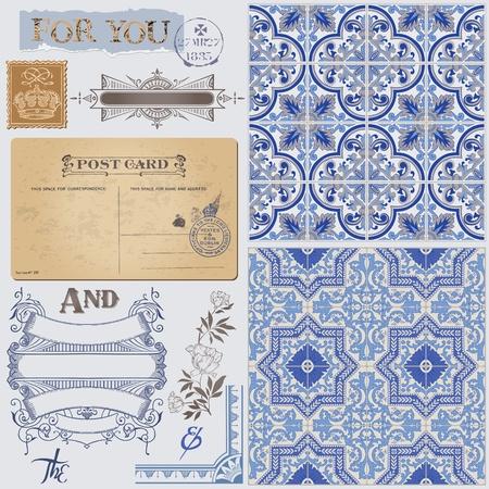 Elementos de dise�o del libro de recuerdos - Tarjeta postal de la vendimia con Seamless Fondos de Victoria en el vector