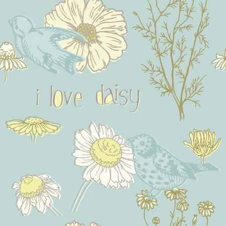 blue daisy: Birds and Flowers - seamless pattern in vector