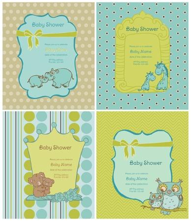 scrapbook cover: Juego de Tarjetas de Baby Shower con lugar para el texto en el vector