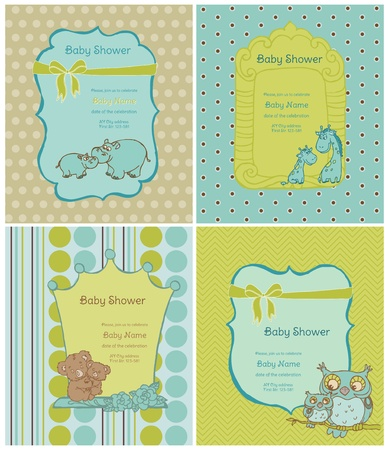congratulate: Set of Baby Shower Cards with place for your text in vector