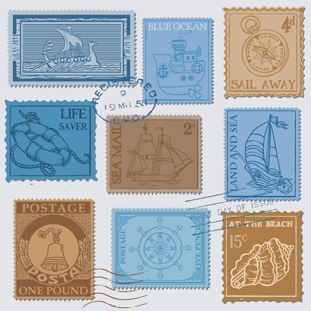 Vector Set of Retro SEA POST Stamps - High Quality -  for design and scrapbook Vector