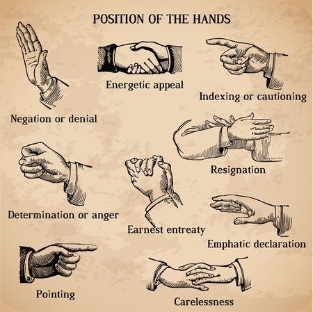 body expression: Set of vintage hands - Various Positions in vector - High Quality Illustration