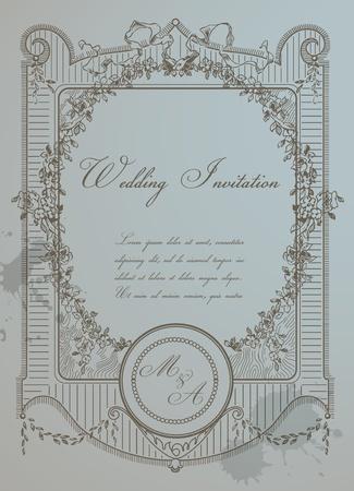 cartoline vittoriane: Vintage Wedding Card - Cornice di alta qualità in formato vettoriale dettagliata Retro