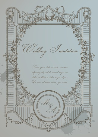 Vintage Wedding Card - High Quality Detailed Retro Frame in vector Stock Vector - 12853200