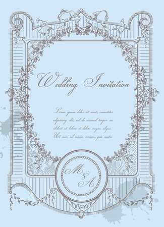 Vintage Wedding Card - High Quality Detailed Retro Frame in vector  Vector