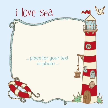 Lighthouse: Nautical Card - with place for your text or photo in vector