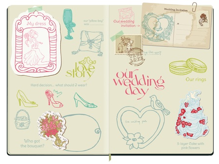honeymoon: Vector Scrapbook Design Elements - Wedding Set - hand drawn in notepad