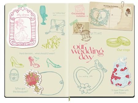 Vector Scrapbook Design Elements - Wedding Set - hand drawn in notepad Vector