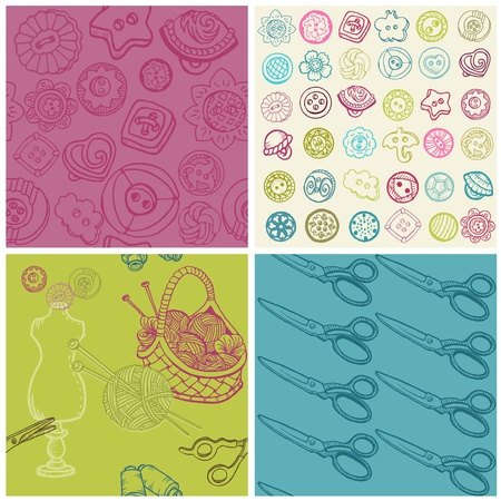 needle cushion: Sewing Kit - Set of Seamless Backgrounds  in vector Illustration