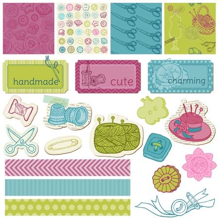 needlework: Elementi di design - Scrapbook kit da cucito in vettoriale