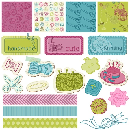 needlework: Scrapbook Design Elements - Sewing Kit in vector