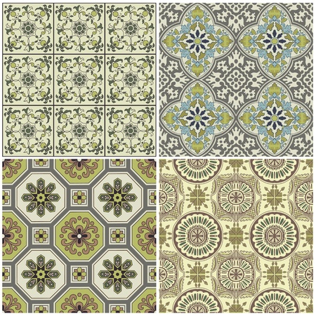 Seamless Vintage Background Collection - Victorian Tile in vector Stock Vector - 12853239