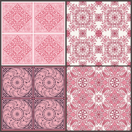 Seamless Vintage Background Collection - Victorian Tile in vector Vector