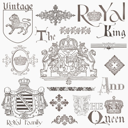 гребень: Набор Vintage Design Elements роялти - Высокое качество - в векторе
