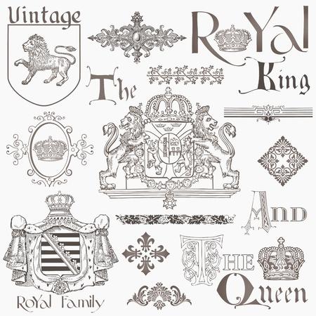 lion dessin: Jeu de Vintage Design Elements Banque - Haute Qualit� - dans le vecteur