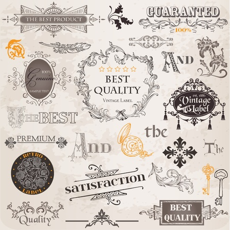 old key: Vector Set: Calligraphic Design Elements and Page Decoration, Vintage Label collection with Flowers