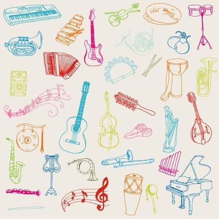 Conjunto de Instrumentos Musicales - dibujado a mano en el vector