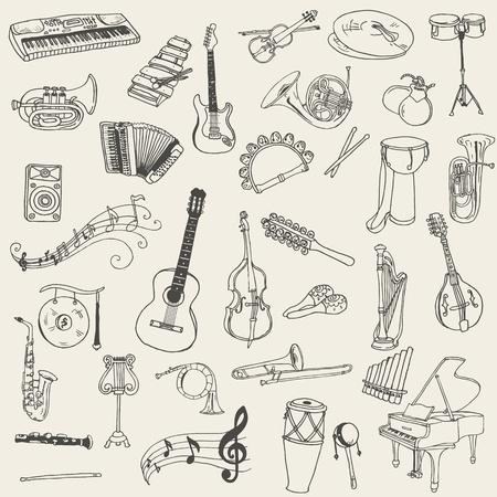 Conjunto de Instrumentos de Música - dibujado a mano en el vector