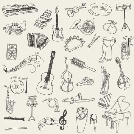 drawing instrument: Set of Music Instruments - hand drawn in vector