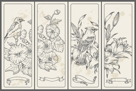 lilly: Retro Flower and  Bird Banners - hand drawn in vector Illustration