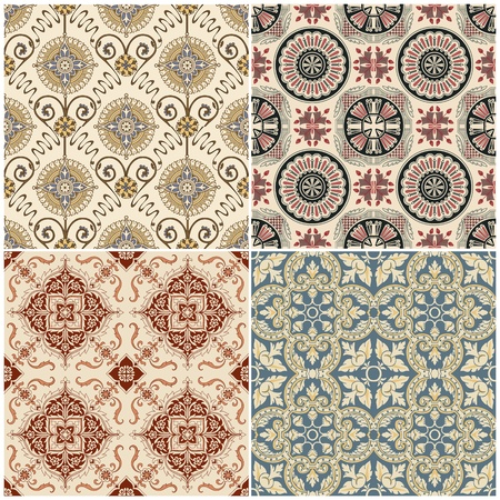 Seamless Vintage Background Collection - Victorian Tile in vector Stock Vector - 12984240