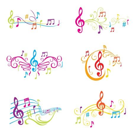 Conjunto de ilustraciones coloridas notas musicales - en el vector